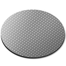 Round Mouse Mat  - Grey White Polka Dots Pattern Cute  #45252