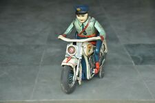 Vintage Litho Police Motorcycle MT Trademark 68345 Battery Tin Toy,Japan