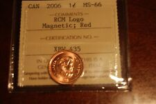 Canada Cent ICCS MS66 RED 2006 Logo Mag