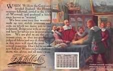 NORWICH, CT, F.A. WELLS CLOTHING STORE ADV PC, NOV CALENDAR, WEAVERS used 1912