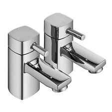 ENKI Hot Cold Twin Basin Taps Square Designer Brass New Chrome Cloakroom DESIRE
