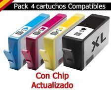 4X Cartuchos Genericos CON CHIP para Hp Photosmart 5515 5520 5524 6350 Hp364 XL
