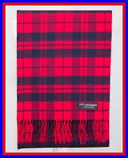 100% Cashmere Scarf Red Navy Blue Check Plaid Scotland Ghram Flannel Wool ZS05