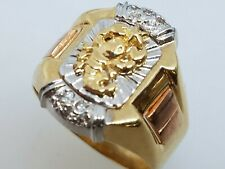 GOLD Scorpion mens ring 14k solid real tri simulated diamond 9.8g 11 9 10 12 13