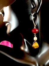 GORGEOUS GOLD-TONE GARNET PEARL TIGER EYE LANTERN STYLE DANGLE PIERCED EARRINGS