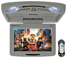 "Rockville RVD12HD-GR 12"" Gris Flip Down Monitor de coche reproductor de DVD/USB/SD + Juegos"