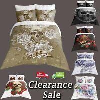 Digital Print Skull Duvet Quilt Cover With Pillowcases Bedding Set All Sizes