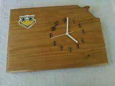 Kansas Jayhawks state wood wall clock with team logo 16 X 12 X 1.5 inches