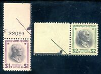 USAstamps Unused VF US $1+2 Presidential Scott 832, 833 OG MNH With Arrows