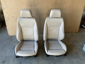 BMW E90 E91 FRONT LEFT AND RIGHT SEATS SPORT HEATED MTECH SET OYSTER OEM 100K