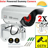 2X Solar Power Dummy Surveillance Fake CCTV Security Camera LED Record Light UK