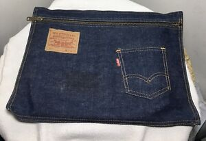Vtg 501 Levi's 36X36 Red Tag Folio Zippered Pouch Laptop Makeup Bag Made USA