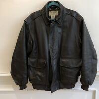 LL Bean Brown Goatskin Leather Flight Bomber Jacket Mens Size Med. Thinsulate