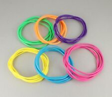 Multi Color Set Pack 30 Jelly Rubber Gummy Bangle Bracelet 80s Style Costume