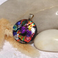 Handmade Dichroic Glass Pendant Necklace Women Jewellery Red Purple Gold Silver