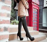 Womens Over The Knee Thigh Platform Boots Stiletto High Heels Shoes Plus Size