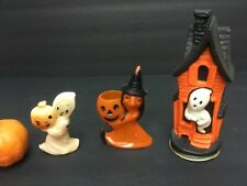 VINTAGE 4 Halloween Pumpkin & Ghost Candles, Air Freshner Celluloid Candy