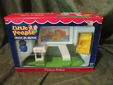 Vintage Fisher Price Little People Drive in Movie 2454 Box Play Family Gas Car