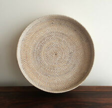 Tray, rattan, white washed, medium, 500mm(diam), round, serving, handmade, decor
