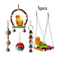 5pcs Bulk Bird Parrot Toys Hanging Bell Pet Cage Hammock Swing Wooden Lot Set