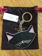 Kate Spade Jazz Things Up Black Cat Key Leather Fob Keychain Charm NWT & dustbag