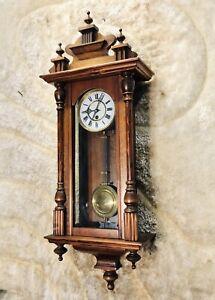 Vintage Antique Germany Wall Vienna  Time Clock,Walnut Case & Pendulum