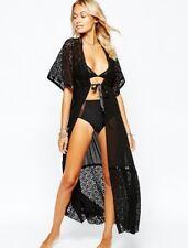 Long Kimono Chiffon Crochet Boho Sarong Retro Lace Maxi Bikini Cover Up Beach