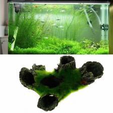 Aquarium Rock Cave Decoration with Green Grass for Fish Shrimp Hiding Ornament