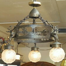 Antique German Pewter Hunt CEILING CHANDELIER LAMP Cabin Chalet Decor c1920s