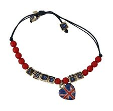 DOLCE & GABBANA Bracelet Red Blue Beaded DG LOVES LONDON Flag Branded