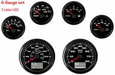 6 Gauge Set With Senders,Speedometer,Tacho,Fuel Gauge,Temp,Volt,Oil,7 Colors LED