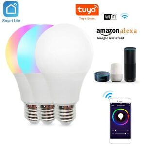 Smart Tuya Wifi RGB Bulb Color Changing LED Light Lamp E27 For Alexa Google Home