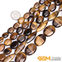 """Natural Tiger's Eye Gemstone Oval Loose Beads For DIY Jewelry Making Strand 15"""""""