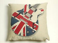 Vintage Tapisserie Union Jack Guitare 16.5 x 16.5 in (environ 41.91 cm) Housse de coussin
