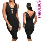 Sexy Womens Low Cut Midi Dress Size 8 10 Hot Fitted Party Clubbing Evening S M