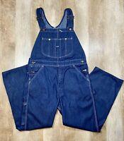 Vtg Sears Roebucks Mens 36x30 Overalls Bib Carpenter Blue Denim Made in USA