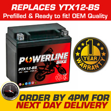 PTX12-BS Powerline Motorcycle Bike Battery Replaces YTX12-BS