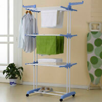 "66"" 3-Tier Blue Laundry Organizer Folding Dryer Hanger Stand Towel Rack Durable"