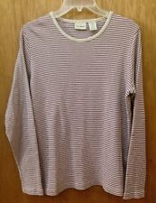VINTAGE LL BEAN RIBBED STRIPED LONG SLEEVE T plum, oatmeal SIZE L ~Canada made!!