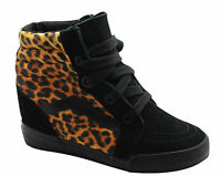 Vans Off The Wall SK8 Hi Wedge Black Leopard Unisex Lace Up Trainers Boots