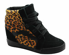 Vans Off The Wall SK8 Hi Wedge Black Leopard Womens Lace Up Trainers Boots