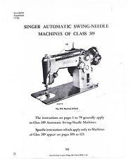 Singer Sewing Machine Class 319 Model Adjusters Service Repair Manual Book