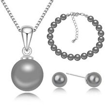 STUNNING 18K WHITE GOLD PLATED GREY PEARL NECKLACE, BRACELET & EARRING  SET