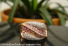 Rare Laura Ramsey 14k Strawberry Rose Gold Pave Diamond Pink Sapphire Swirl Ring