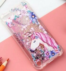 iPod Touch 5th 6th & 7th Gen - Pink Unicorn Liquid Floating Waterfall TPU Case