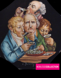From BOILLY ANTIQUE 1890s FRENCH MINIATURE HAND PAINTED OYSTER EATERS CARICATURE