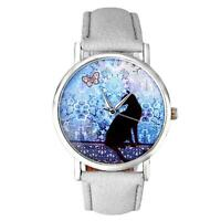 Moda Mujer Relojes Gato Diseño Analogico Pulsera De Cuero reloj cuarzo Nuevo