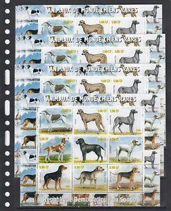 Rare Dogs Animals 2000 Congo  MNH 9 v M/s № 1 perf  X 10 Wholesale lot