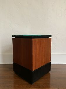 Mid Century Pedestal Side Table Nightstand End Table Danish Modern Stand