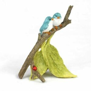 New Fairy Garden Georgetown - Fiddlehead  Miniature Bluebirds on a branch - 9cm